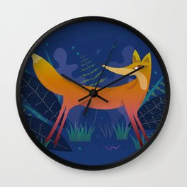 Fox in the Night Forest Wall Clock