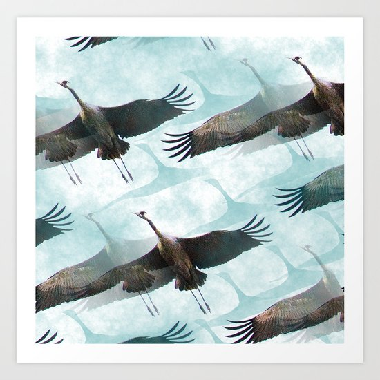 Abstract Whooping Cranes  Art Print