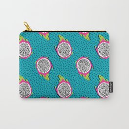Dragonfruit retro style pattern tropical fruits vegan art print exotic throwback 80s Carry-All Pouch