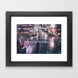 Rainy Night at Shibuyacrossing Framed Art Print