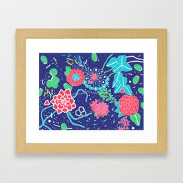 Flowers and Cactus Framed Art Print