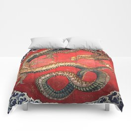 Dragon by Hokusai Comforters