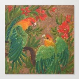 Carolina Parakeets and Pomegranate Blossoms Canvas Print