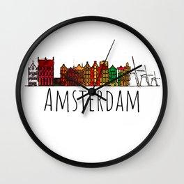 Amsterdam Skyline Holland Love Travel Destination Graphic Design Wall Clock
