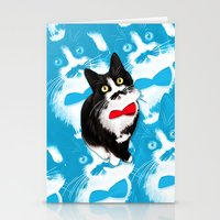 muppet Stationery Cards featuring Muppet the Moustached Cat by EggsBFF