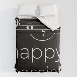 Happy bassist (dark colors) Comforters