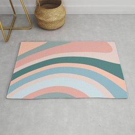 Retro Art, Teal, Pink and Blue, Geometric Art Rug