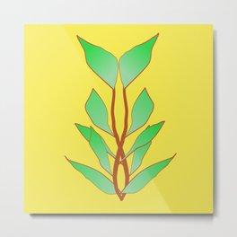 Illuminating Fern Leaf Graphic Print Metal Print