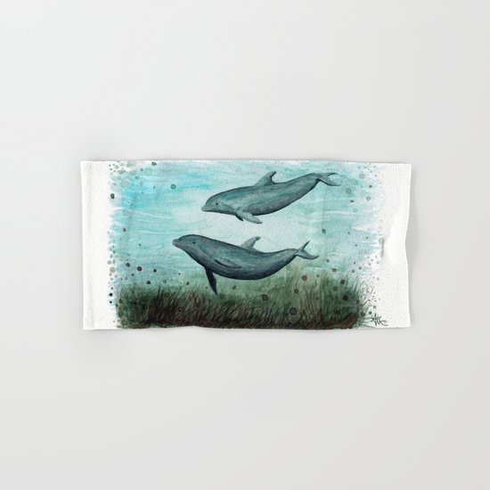 Two Inshore Dolphins ~ Watercolor Hand & Bath Towel