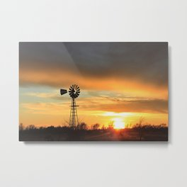 Colorful Kansas Sunset with a Windmill Silhouette. Metal Print