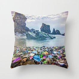 MacKerricher Bottle Sea Glass Beach, California Portrait Throw Pillow
