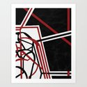 Tangents - Red and Black Hard Edge Abstract by rmlstudios