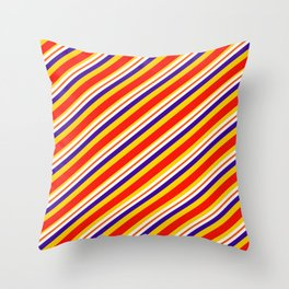 Team Colors,,,red,yellow and blue stripes Throw Pillow