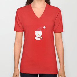 Cute happy snowman Unisex V-Neck