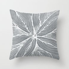 Doodled Aura-Leah DM02 Silver Gray Throw Pillow