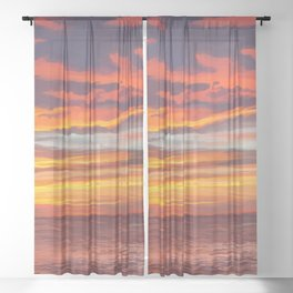 Dreamy Island Sunset Sheer Curtain