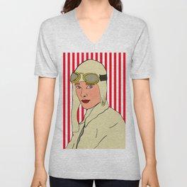 Amelia Earhart Unisex V-Neck