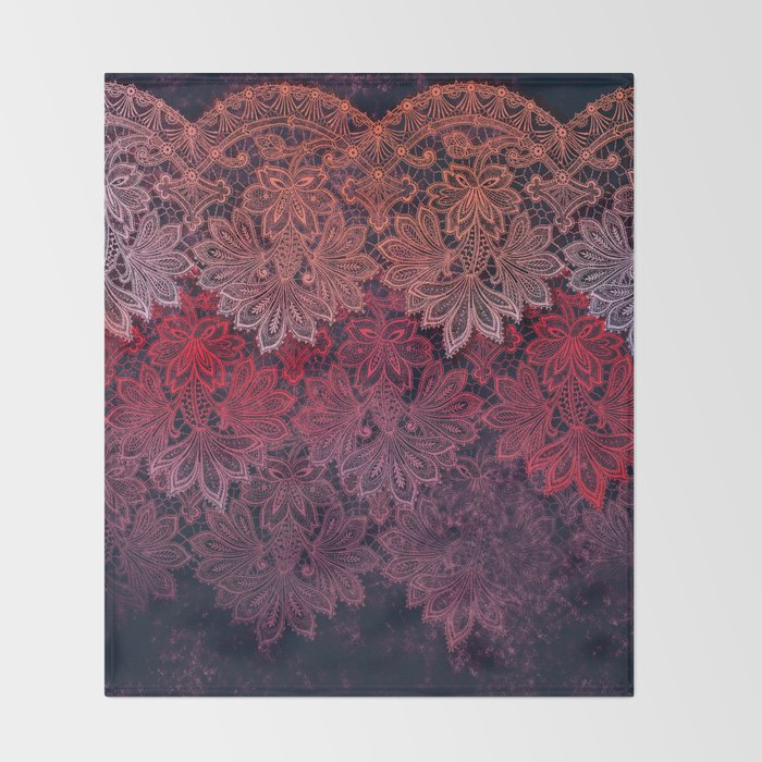 lace garland on black Throw Blanket