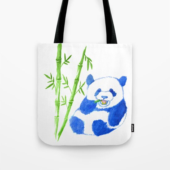 Panda eating bamboo Watercolor Print Tote Bag