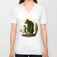 robin hood V-neck T-shirts featuring Robin Hood & Little John by Jehzbell Black