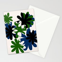 Green and Blue Overlapped Flowers Stationery Cards
