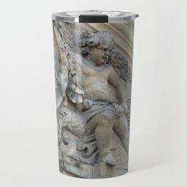 Baroque angel on Parisian mansion facade Travel Mug