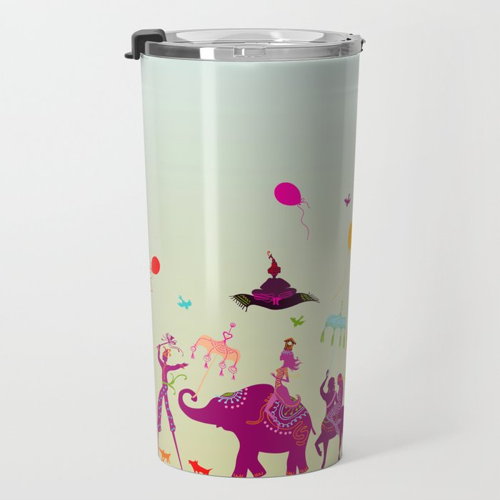 colorful circus carnival traveling in one row during daylight Travel Mug