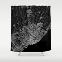 toronto Shower Curtains featuring toronto map by Line Line Lines