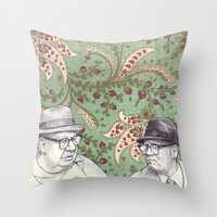 men Throw Pillows featuring Old Men by Jason Ratliff