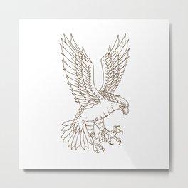 Osprey Swooping Drawing Metal Print