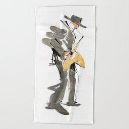 Musician Jazz Saxophone Beach Towel