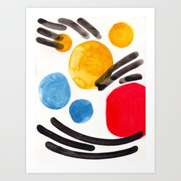 Mid Century Modern Abstract Juvenile childrens Fun Art Primary Colors Watercolor Minimalist Pop Art Art Print