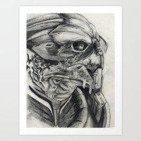 garrus Art Prints featuring Garrus  by VWelch78