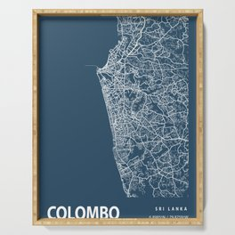 Colombo Blueprint Street Map, Colombo Colour Map Prints Serving Tray