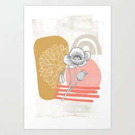 Shapes and Flowers #1 Art Print