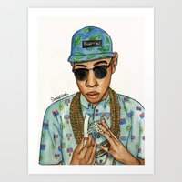 tyler the creator Art Prints featuring Tyler, The Creator by Daniel Cash