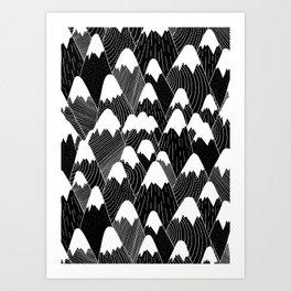 Snow Tops Pattern Art Print