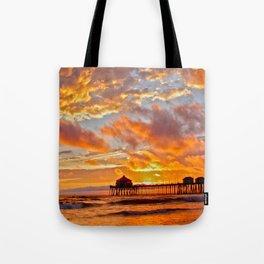 California Dreaming (cropped) ~ Huntington Beach Pier Tote Bag