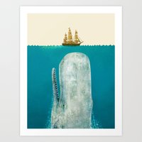 bathroom Art Prints featuring The Whale - colour option by Terry Fan