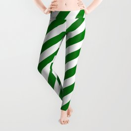 Snow White and Christmas Green Candy Stripes Leggings