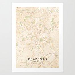 Bradford, United Kingdom - Vintage Map Art Print
