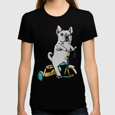 Frenchie Ride X-LARGE Womens Fitted Tee Black