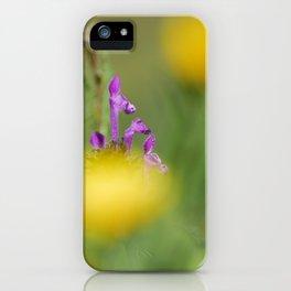 Purple, yellow and green bokeh iPhone Case