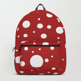 Mixed Polka Dots - White on Firebrick Red Backpack