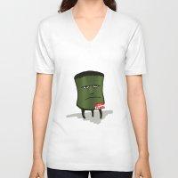 frank V-neck T-shirts featuring Frank by Charlene Jaszewski