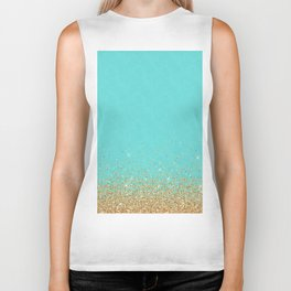 Sparkling gold glitter confetti on aqua teal damask background Biker Tank