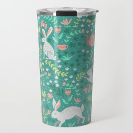 Spring Pattern of Bunnies with Turtles Travel Mug