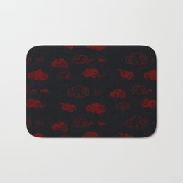 Red and Black Asian Style Cloud Pattern Bath Mat