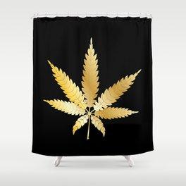 Gold Cannabis Leaf Shower Curtain