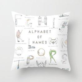 Alphabet of names Throw Pillow